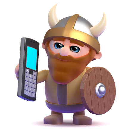 3d render of a viking with a mobile phone photo