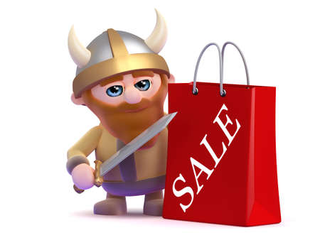 3d render of a viking with a sale shopping bag photo