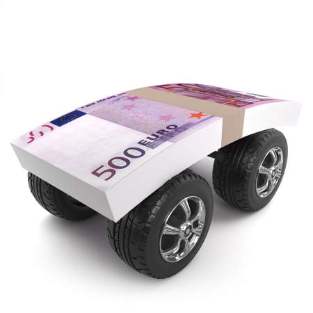 wad: 3d render of a wad of Euro notes on car wheels