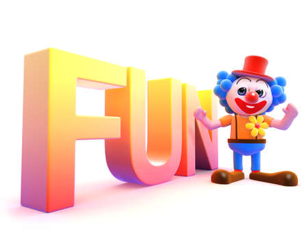 spelt: 3d render of a clown with the word fun spelt large