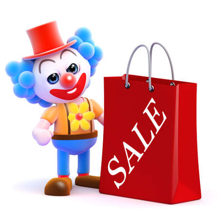 3d render of a clown with a shopping bag from the sales photo