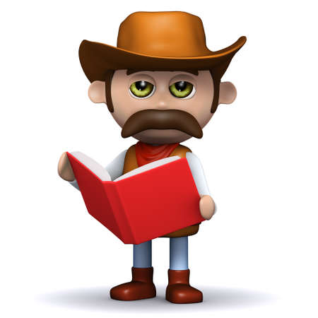 3d render of a cowboy sheriff reading a red book photo