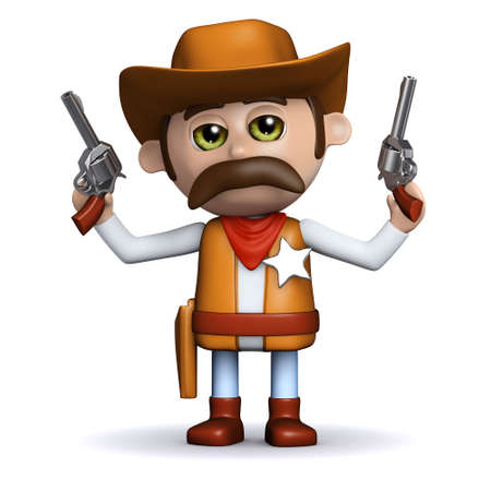 3d render of a cowboy sheriff shooting his two guns in the air photo