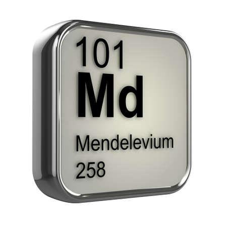 isotopes: 3d render of Mendelevium Periodic Table element design