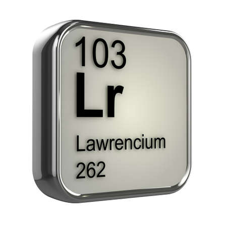 isotopes: 3d render of lawrencium periodic table element design Stock Photo