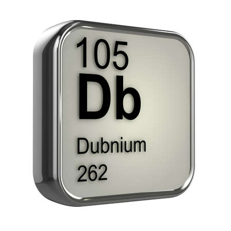 protons: 3d render of Dubnium periodic table element design Stock Photo