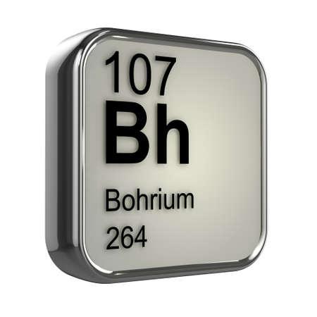 protons: 3d de Bohrium tabla peri�dica elemento de dise�o Foto de archivo