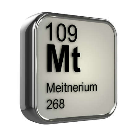 protons: 3d render of Meitnerium periodic table element design Stock Photo