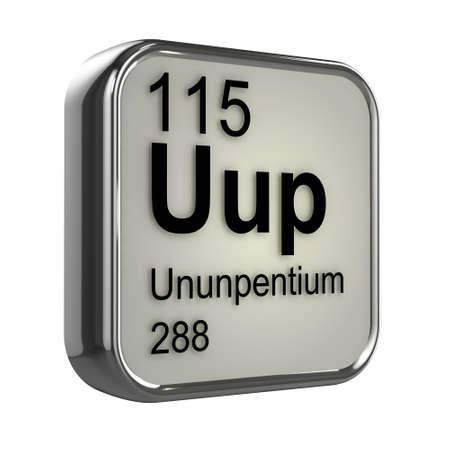 isotopes: 3d render of Ununpentium periodic table element design Stock Photo
