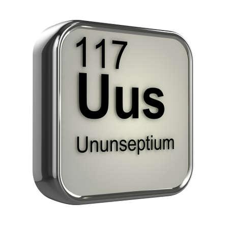 isotopes: 3d render of Ununseptium periodic table element design Stock Photo