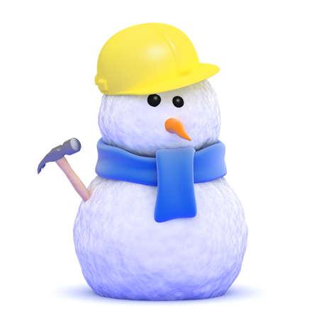 3d render of a snowman construction worker Stock Photo