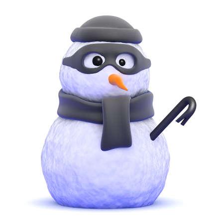 burglar: 3d render of a snowman burglar