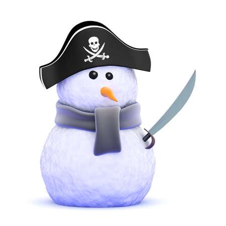 3d render of a snowman pirate with cutlass photo