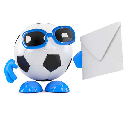 3d render of a football character with an envelope photo