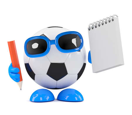 3d render of a football with a notepad and pencil photo