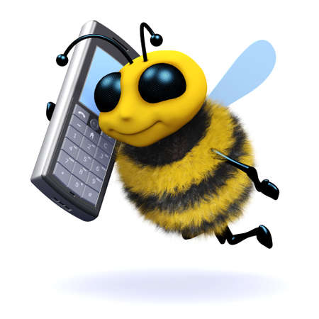 pollinate: 3d render of a bee chatting on a mobile phone