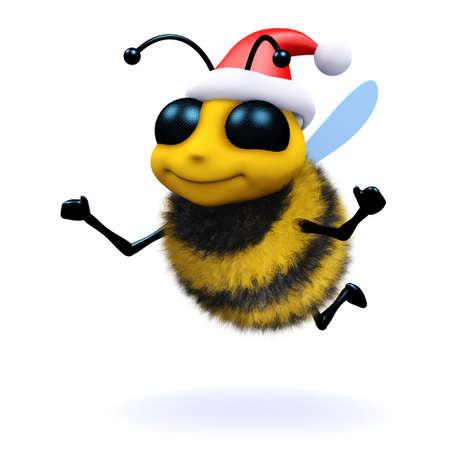 3d render of a honey bee dressed as Santa Claus photo