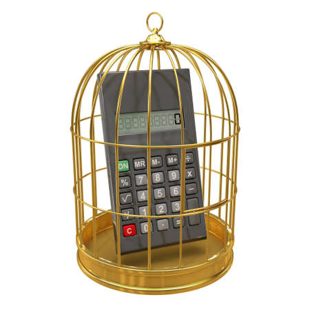 detained: 3d render of a calculater inside a gold bird cage Stock Photo