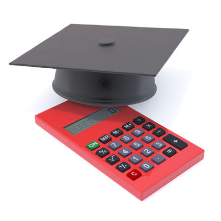 sums: 3d render of a graduate mortar board on a calculater