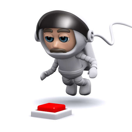 freefall: 3d render of an astronaut with a red button