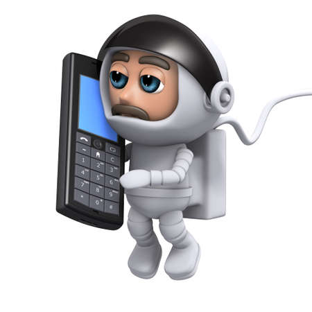 freefall: 3d render of an astronaut talking on a mobile phone