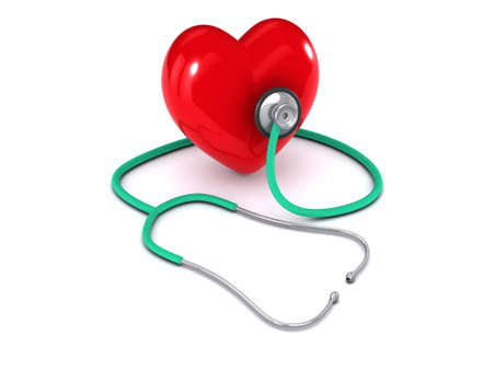 health check: 3d render of a stethoscope listening to a heart