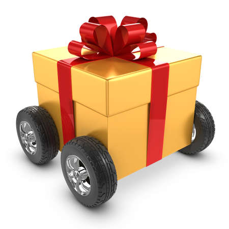 cartoon present: 3d render of a gold gift wrapped present on wheels