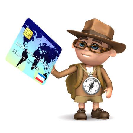debit card: 3d render of Explorer kid paying by debit card