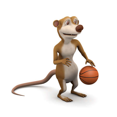 3d render of a cartoon meerkat playing basketball photo