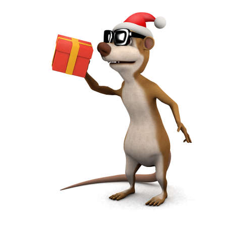 3d render of a cartoon meerkat Santa with gift photo