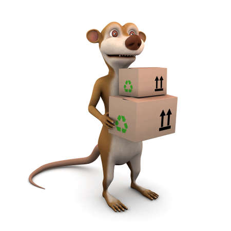 3d render of a cartoon meerkat delivers some cardboard boxes photo