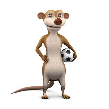 stoat: 3d render of a cartoon meerkat with a football