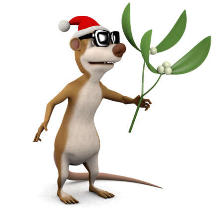 3d render of a cartoon meerkat wearing a Santa hat and holding some mistletoe photo