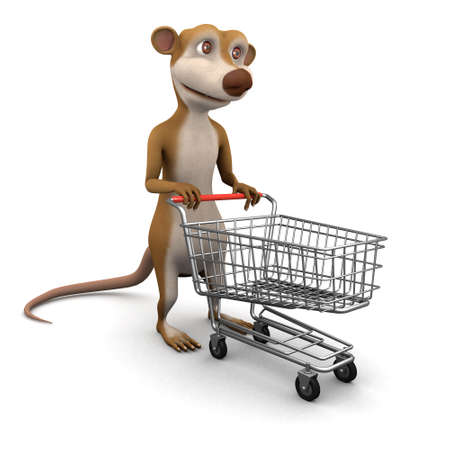 3d render of a cartoon meerkat with a shopping trolley photo