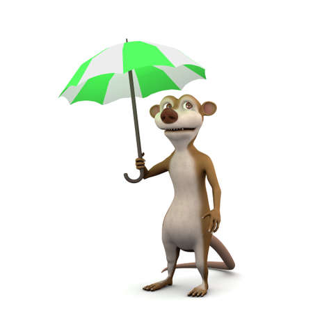 rain cartoon: 3d render of a cartoon meerkat under an umbrella