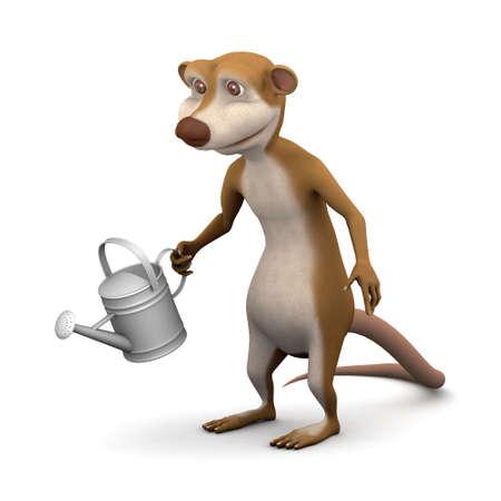 3d render of a cartoon meerkat watering the garden photo