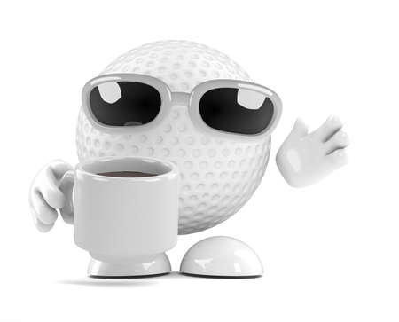 3d render of a golf ball character drinking a coffee photo