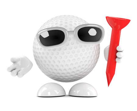 cartoon golf: 3d render of a golf ball character holding a tee
