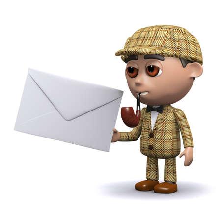 deduce: 3d render of Sherlock holding an envelope Stock Photo