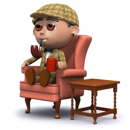 deduce: 3d render of Sherlock sitting at home