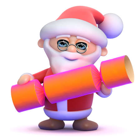 christmas cracker: 3d render of Santa Claus holding a Christmas cracker