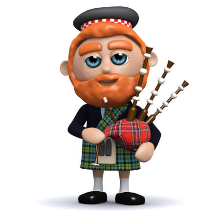 bagpipes: 3d render of a Scotsman playing bagpipes