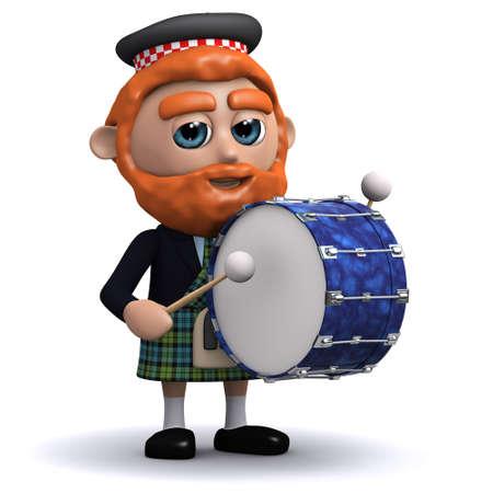 gaita: 3d rinden de un escocés golpeando un bombo Foto de archivo