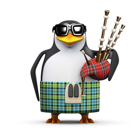 bagpipes: 3d render of a penguin in tartan kilt playing bagpipes