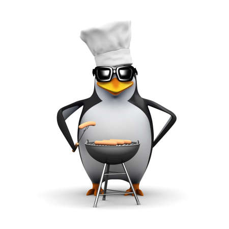 3d render of a penguin cooking a barbeque photo