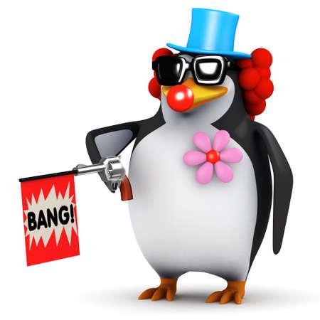 prank: 3d render of a penguin dressed as a clown firing a toy gun