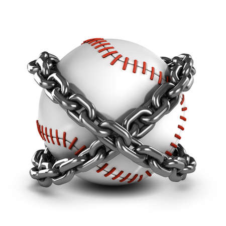 chained link: 3d render of a baseball wrapped in chains