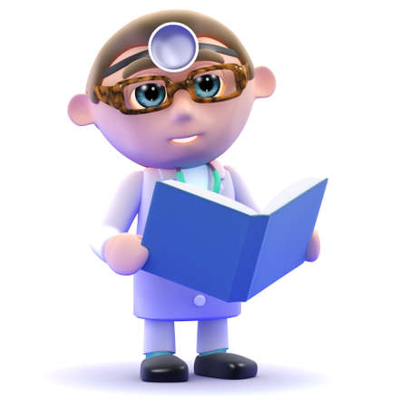 gp: 3d render of a doctor reading a book