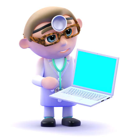 3d render of a doctor holding a laptop photo