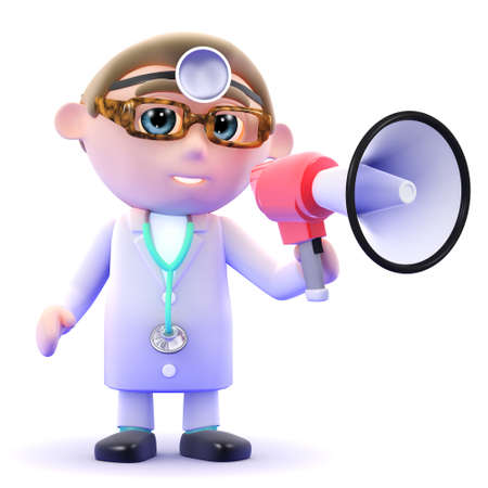 3d render of a doctor speaking through a megaphone photo